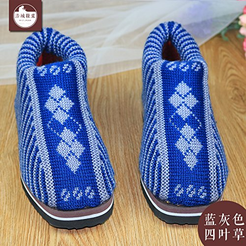 LaxBa Femmes Hommes chauds dhiver Chaussons peluche antiglisse intérieur Cotton-Padded Blue-Gray Chaussures Slipper (4 feuilles), 44/45(Pour41~42)Code de couleur bleu-gris (trèfle)44/45 (41 ~ 42 mètr