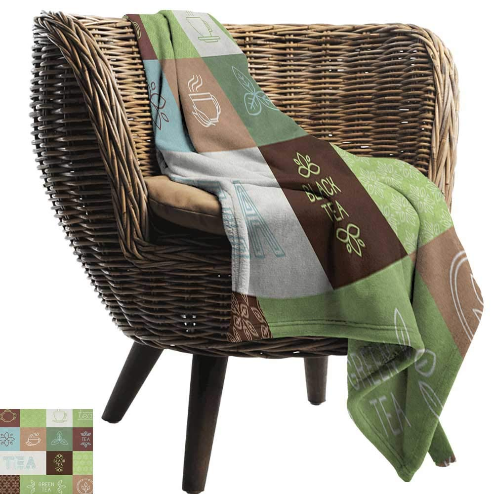 """warmfamily Reversible Blanket Tea Party Checkered Tea Themed Images Symbols Geometrical Soft Colored Minimalist Ultra Soft and Warm Hypoallergenic 30"""" Wx50 L"""