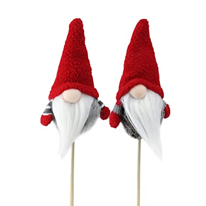 Image result for Northlight Set of 2 Tiny Gray Faux Fur Christmas Santa Gnomes on a Stick