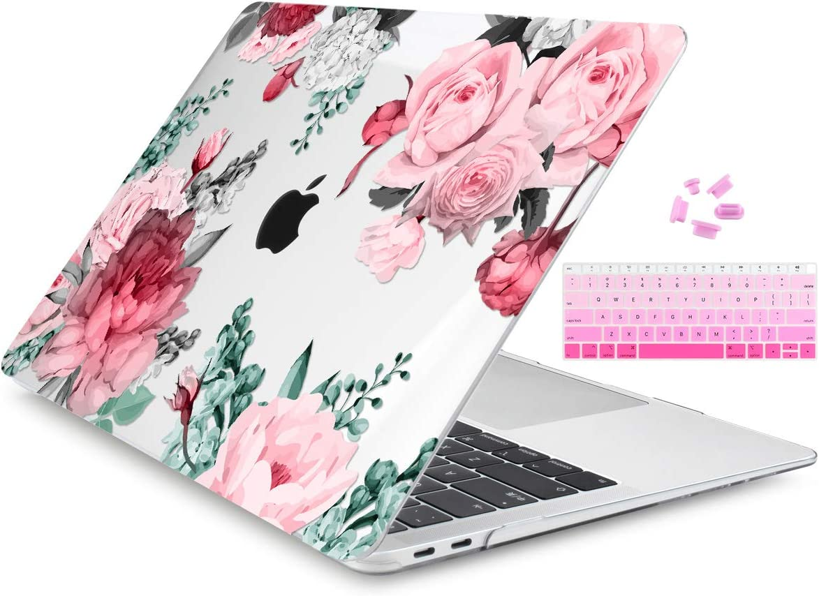 Dongke MacBook Air 13 inch Case 2019 2018 Release Model A1932, Crystal Black Hard Shell Case Cover for MacBook Air 13.3 inch Fit Touch ID and Retina Display Watercolor Roses