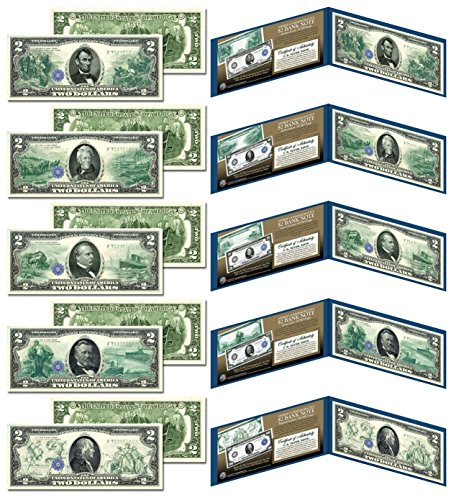 1914 Series FR Bank Notes Hybrid Commemorative - Set of All 5 Modern US $2 Bills