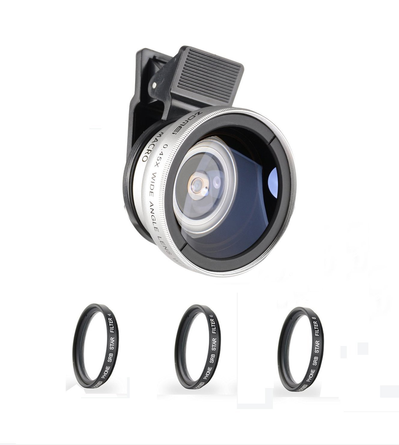 ZoMei iPhone Lens 5 in 1 Cell Phone Camera Lens Kit 140 Degree Wide Angle Lens + 10X Macro Lens + Star Filter with 37mm Clip for iPhone Samsung Android Smartphones(Silver)