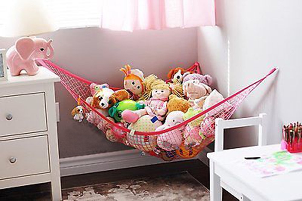 Miyaya Toys Storage Hammock, Organizer for Stuffed Animals, Toys, dolls and other collections(L: 70.8 x 47.2 x 47.2 inch / 180 x 120 x 120 cm,pink)