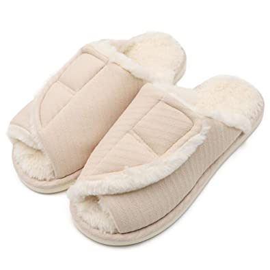46b5931a0a3e7 Women's Slip On Slide Comfortable House Slippers Adjustable Open Toe Plush  Terry Warm Bedroom Shoes for Wide Arthritic Swollen Feet, Elderly, Mom, ...