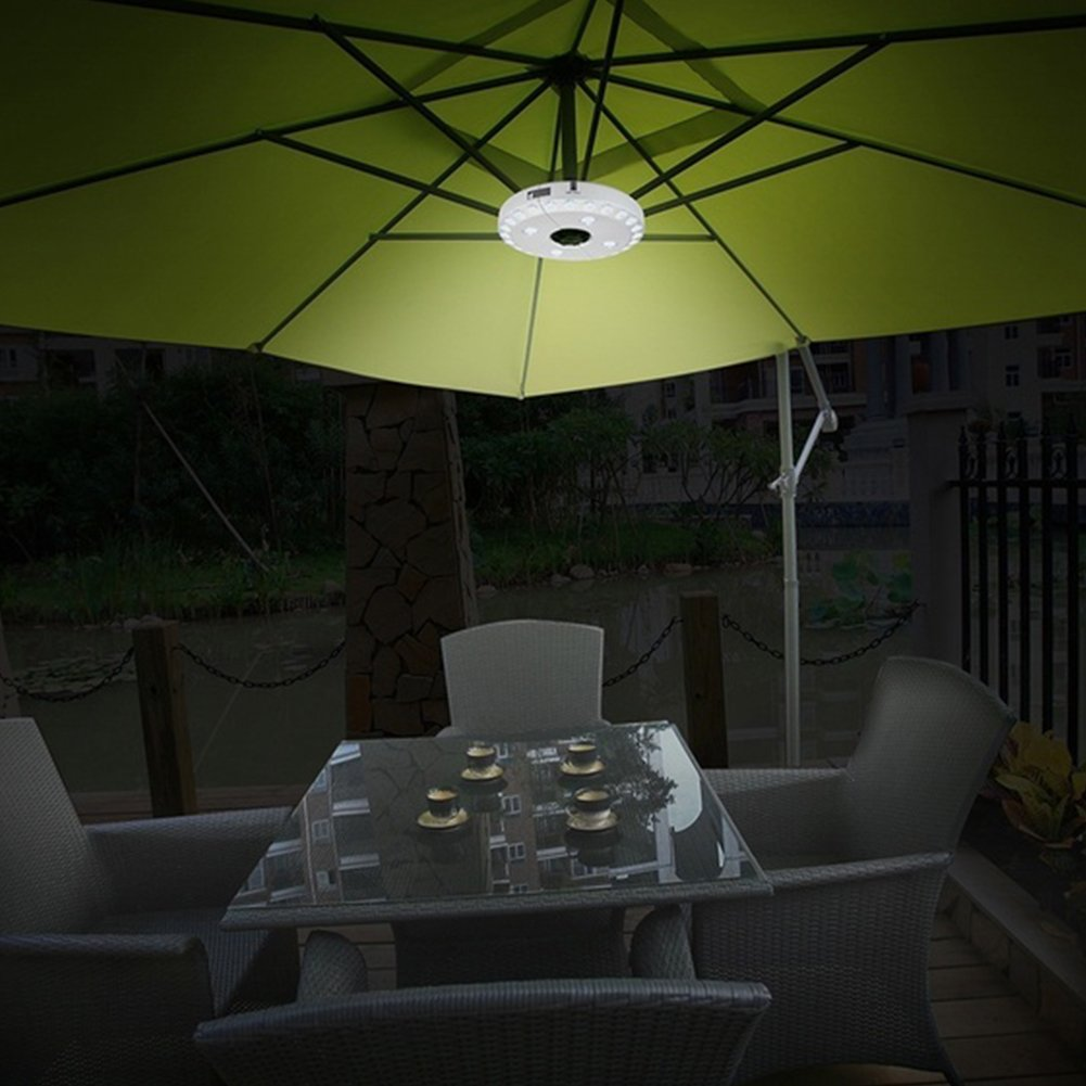 GEZICHTA Portable Umbrella Lights 28 LED 3 Brightness Mode Camping Tent Lantern UFO Umbrella Pole Light Lamp For Camping Tent Pole Mounted Anywhere Battery Operated