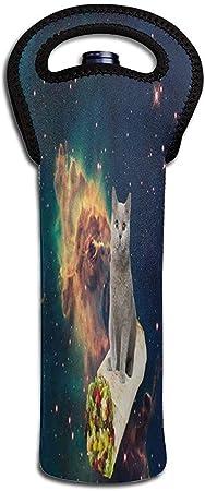 Jasmin-Shop Bolsa de Vino Gatos voladores en el Espacio con Rollo de Pollo 1 Botella