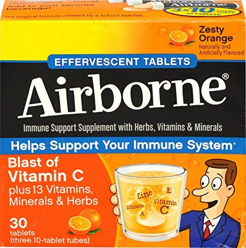 AirBorne Original Immune Support Blast of Vitamin C Zesty Orange 3 Tubes 10 Effervescent Tablets Each