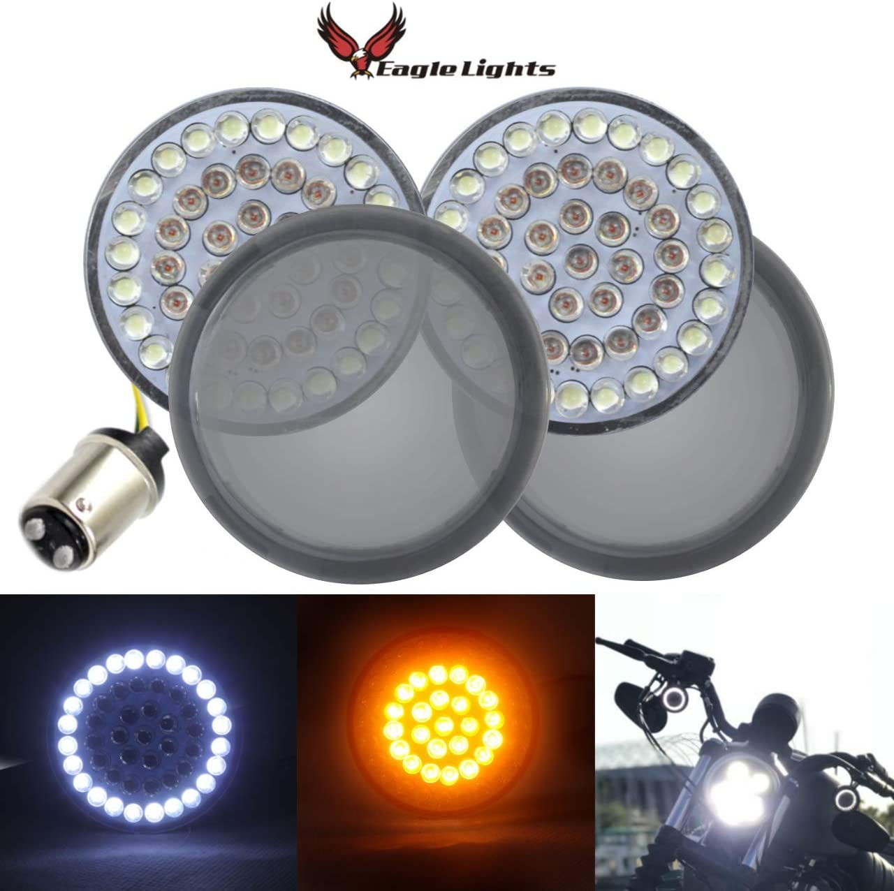 2 Inch Bullet Running Light with Smoked Lens Cover for Harley Sporster 1200 Street Glide Dyna DTR2017 1157 Front LED Turn Signal Lights Road King Softail 2020