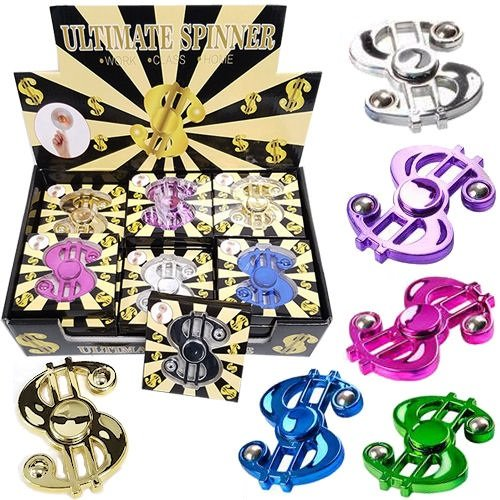Dollar Bill Fidget Spinner Metallic Assorted Colors Bulk (Pack of 24) - iGifts Inc. by iGifts Inc.