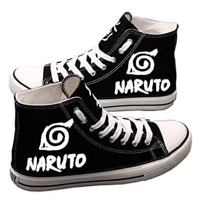 E-LOV Naruto Anime Sharingan Logo Hand-Painted Canvas Shoes High Top Sneakers Anime Painted Cosplay Shoes for Women and Men | Fashion Sneakers