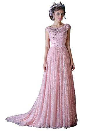 13b42499c Amazon.com  vimans Girls Long Pink Scoop Beaded Bridesmaid Reception ...