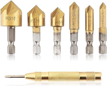 6-tlg HSS Kegelsenker Sechskant Senker Senkbohrer Set für Metall Holz 6-19mm 90°