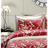 Japanese Oriental Style Cherry Red Blossom Floral branches Print Duvet Quilt Cover 300tc Cotton Bedding 2 piece Set (Twin)