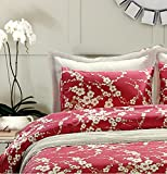 Japanese Oriental Style Cherry Red Blossom Floral branches Print Duvet Quilt Cover 300tc Cotton Bedding 3 piece Set (King)