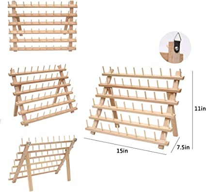 Organizador de hilo de coser para 60 piscinas, estante de hilo de madera, con ganchos para colgar y clavo sin costuras, para bordar y coser hilos 60spools: Amazon.es: Hogar