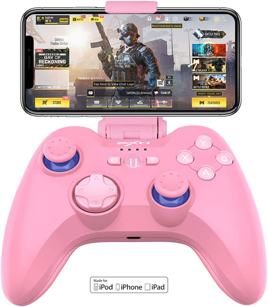 PXN 6603 MFi Certified Wireless Game Controller, Gaming Controller Joypad with Adjustable Clamp Holder Compatible Compatible with iOS iPhone/iPad/iPod/Apple TV(Pink iSO Gaming Controller)