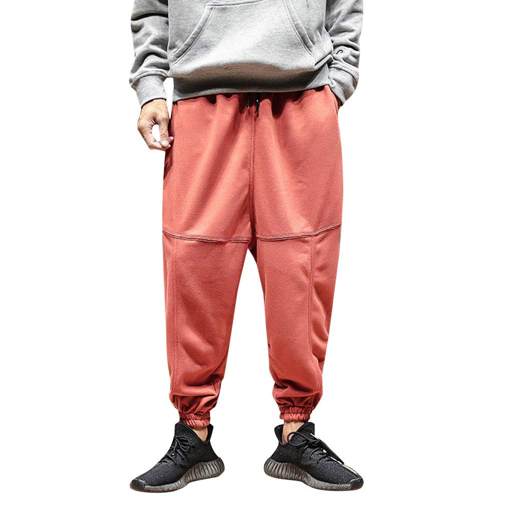 FKSESG Pants for Men Men's Hip Hop Terry Street Sports Beam Foot Harem Pants Red