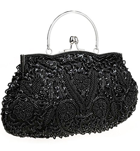 iToolai Satin Purse Evening Handbags Wedding Bag Beads Sequins Clutch (Black)