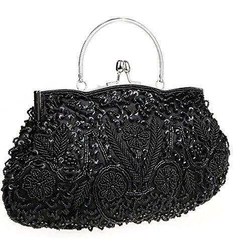 Lined Vintage Clutch (iToolai Satin Purse Evening Handbags Wedding Bag Beads Sequins Clutch (Black))