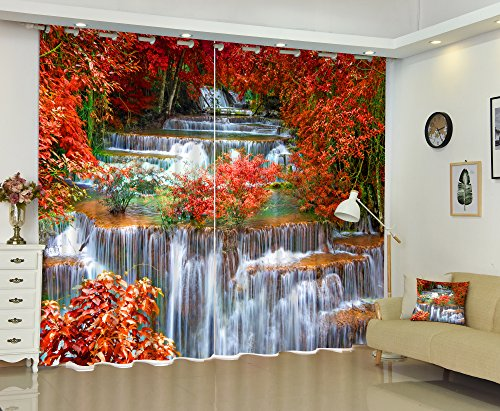 Newrara 3D Red Leaves and Flowing River Printed Autumn Style 2 Panels Window Curtains for Living Room&Bedroom,Free Hook Included (80W84 L, Color6)