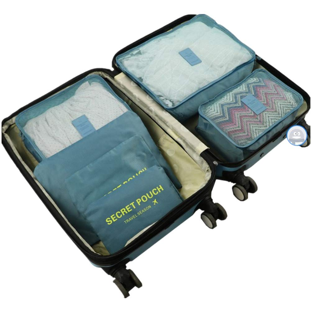 b1e42b02365a 6Pcs Travel Storage Bags Clothes Packing Cubes Luggage Organizer Pouch  (Gray Blue)