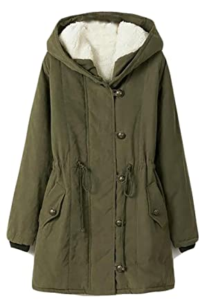 102ebd28703 Image Unavailable. Image not available for. Color  Papijam Womens Plus Size  Safari Warm Hooded Military Parka Jacket Coat Army Green 4X-Large