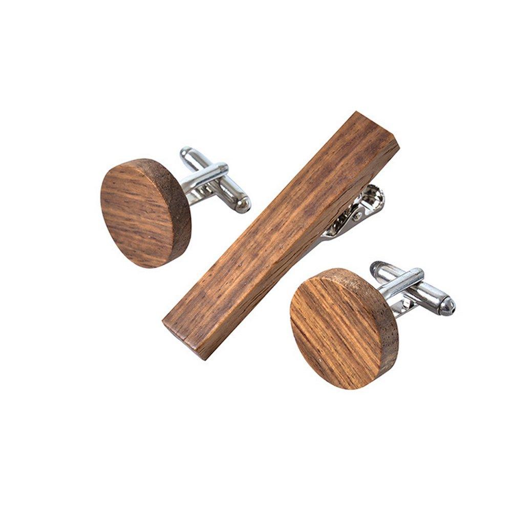 DURUI RURUI Handmade Wood Cufflinks Tie Clip Set Men's Natural Cufflinks Tie Bar Set with Gift Box Unique Gift to Lover 2.1 Inch-0.4inch (round Zebra)