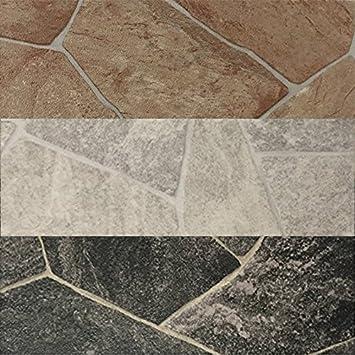 CV PVC-Belag verf/ügbar in der Breite 200 cm /& L/änge 450 cm CV-Boden wird in ben/ötigter Gr/ö/ße als Meterware geliefert /& pflegeleicht PVC Vinyl-Bodenbelag Bruchstein-Optik rot-braun