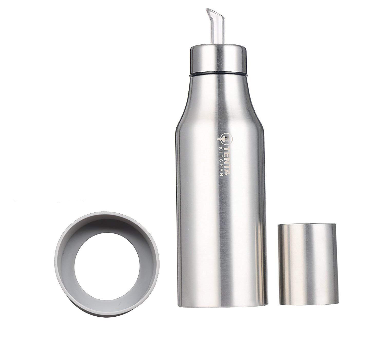 Tenta Kitchen Stainless Steel Olive Oil Vinegar Dispenser Sauce Cruet Edible Oil Container Pot Leak-proof Oil Bottle with Non-Slip Silicone Ring,25 oz/750ML by TENTA Kitchen