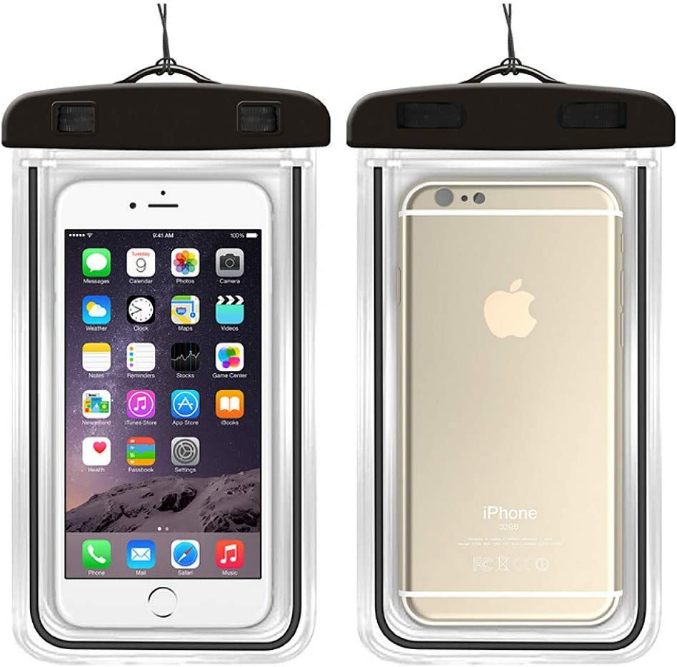 SISIMOM Universal Waterproof Pouch,2 Pack Swimming Bags Waterproof Bag with Luminous Underwater Pouch Phone Case for iPhone 6 6s 7 Universal All Models 3.5 inch -6 inch