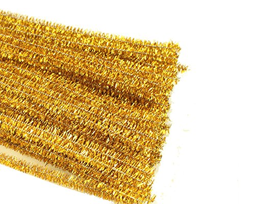 Rimobul Glitter Creative Arts Chenille Stem Class Pack,6 mm x 12 Inch, Pack of 100 (Gold)