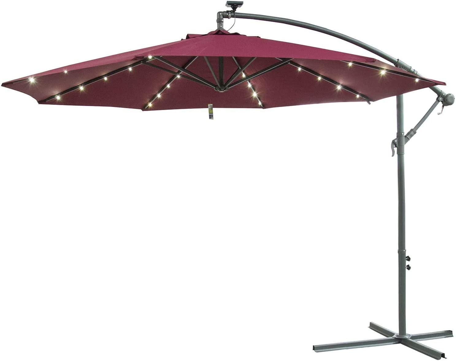 Caymus 10' Offset Cantilever Hanging Patio Umbrella Freestanding Outdoor Adjustable Market Umbrella