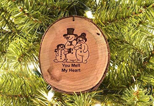 3 Snowmen You Melt My Heart Rustic Wood Ornament