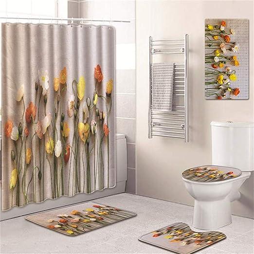 AMON LL Cortina de Ducha y Set de baño, patrón de Flores Alfombras ...