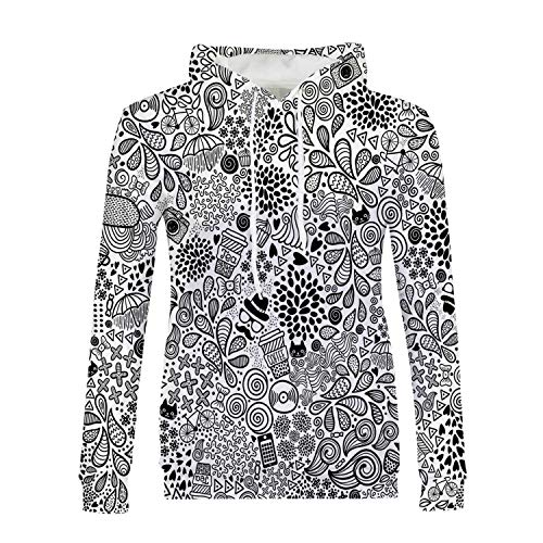 Doodle Stylish Hoodies,Hipster Inspired Abstract Drawing Cupcake Tea Umbrella Leaves and Many Other Shapes Decorative for Girls,XXL