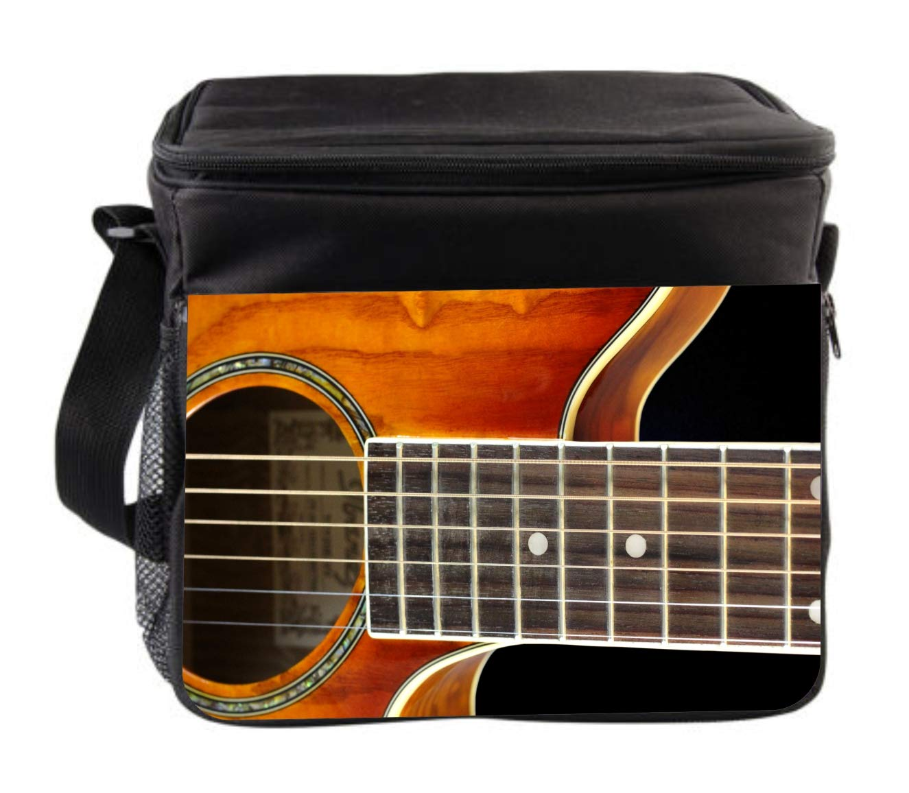Music Guitar Strings Cross Body Thermo Cooler Lunch Bag For Kids and Adults by Rosie Parker Inc.