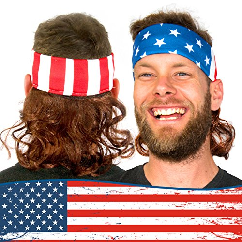 Freedom Mullets Headband Wig - Red, White, and Mullet -