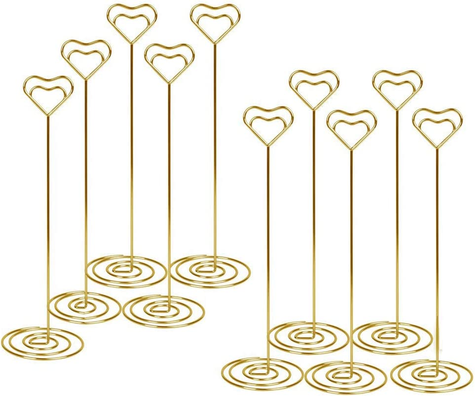 Halloween Christmas and Party Table Number Card Holders 8.6 Inch Tall Heart Shape Photo Picture Note Holder 10 Pcs-Gold Stands Place Paper Menu Clips for Wedding Thanksgiving Restaurant