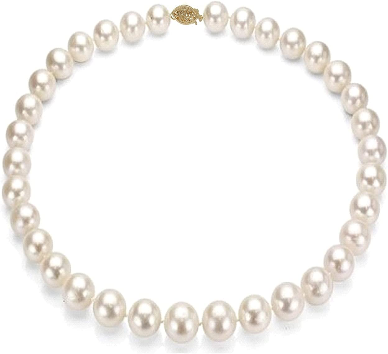 14k Gold 8-9mm White Freshwater Cultured Pearl Necklace