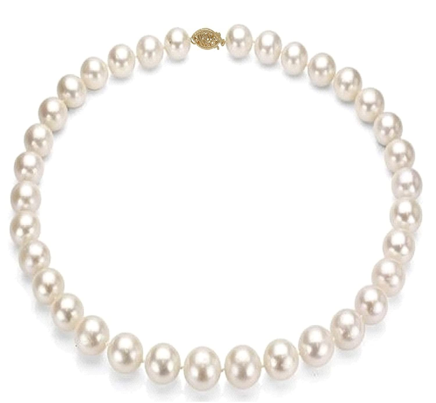 14k Gold 10-11mm White Freshwater Cultured Pearl Necklace - Bridal Wedding Gift
