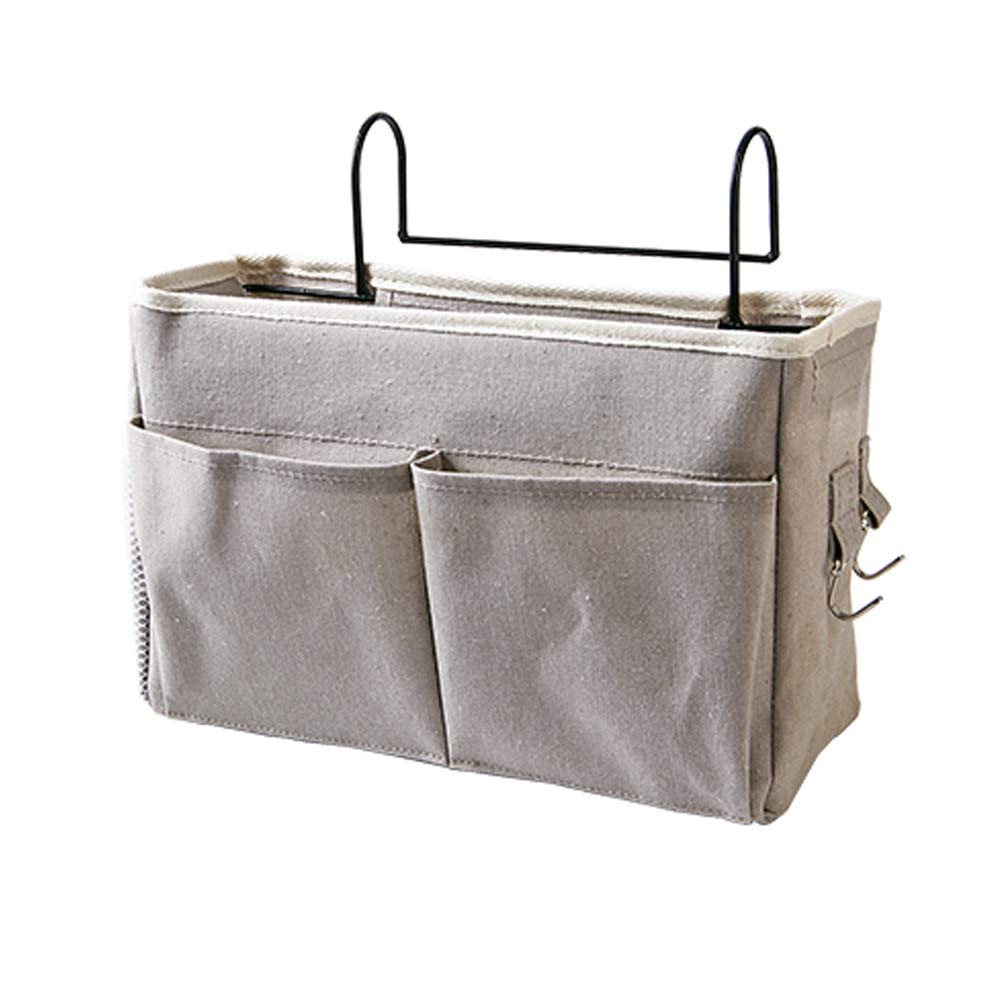 Frjjthchy Bedside Hanging Storage Basket Multi-Function Organizer Caddy for Headboards Bunk Beds Hospital Bed Dorm Rooms (with Pocket, Grey) by Frjjthchy
