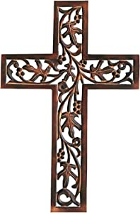Wooden Wall Hanging French Cross with Celtic Hand Carvings Religious Cross Home Living Room Decor 18 X 12 Inches