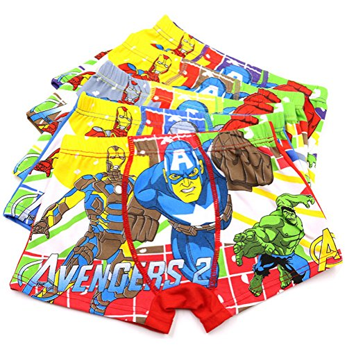 2-8 Years Boy's Avengers Boxer Briefs Cotton Character Underwear Multipack 5 Pack