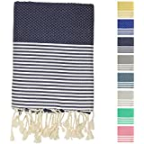 "Fouta Peshtemal Pestemal Turkish Towel, Bath & Beach Towels, 39"" x 70"", Dark Blue"