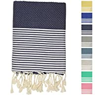 Fouta Peshtemal Pestemal Turkish Towel, Bath & Beach Towels, 39″ x 70″, Dark Blue