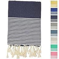 Fouta Peshtemal Pestemal Turkish Towel, Bath & Beach Towels, 39″ x 70″, Dark Blue