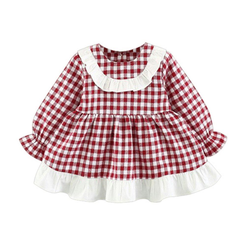 ESHOO Bebé niñas manga larga algodón Plaid princesa vestidos ...