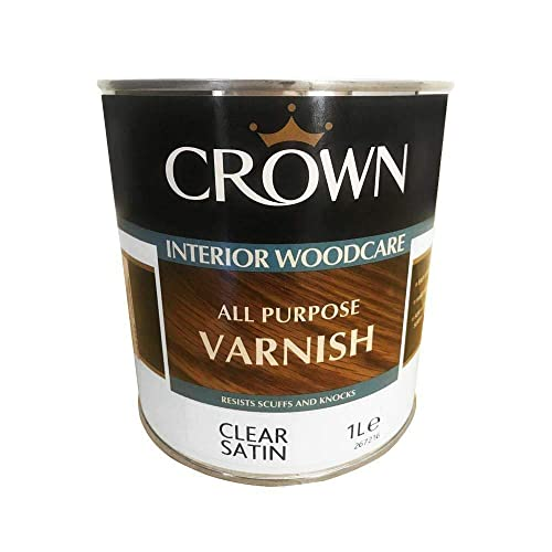 Crown Clear Satin Interior Wood Paint Care All Purpose Varnish 1L