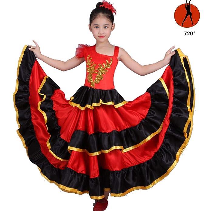 SMACO Niña Traje de Flamenca Danza del Vientre Falda de Gasa ...
