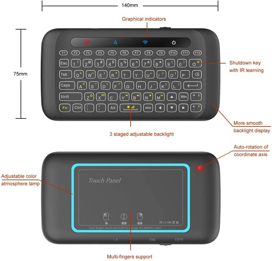 Calvas 2.4GHz Wireless Keyboard Colorful Backlight Touchpad Handheld IR Learning Remote Control w//Large Touch Panel for Android TV Box